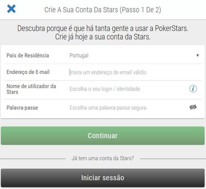 PokerStars Cadastro